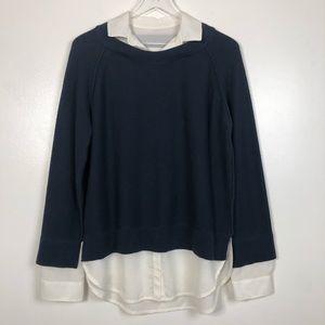Brochu Walker Layered Sweater Navy Blue Large